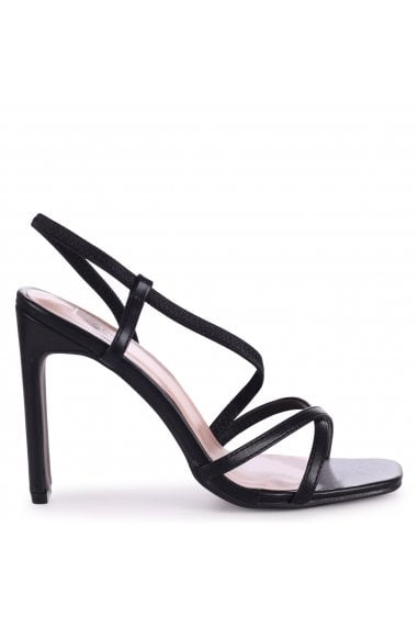 STARLIGHT - Black Nappa Sling Back Strappy Slim Heel