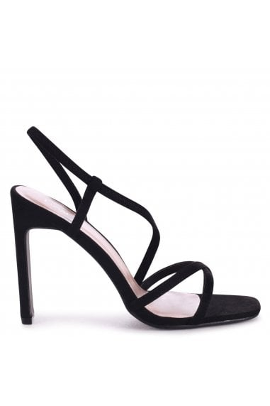 STARLIGHT - Black Suede Sling Back Strappy Slim Heel