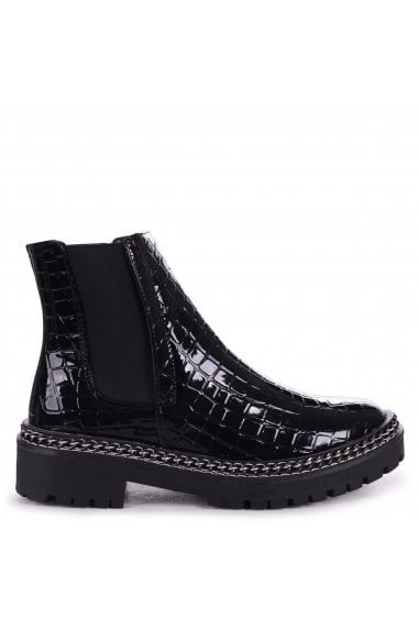 SOLO - Black Croc Patent Classic Chelsea Boot With Chain Detail