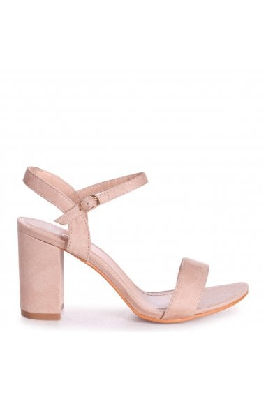 CHERUB - Nude Suede Open Back Barely There Block Heeled Sandal