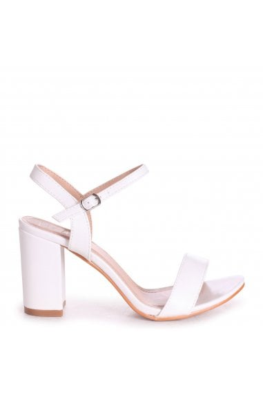 CHERUB - White Nappa Open Back Barely There Block Heeled Sandal