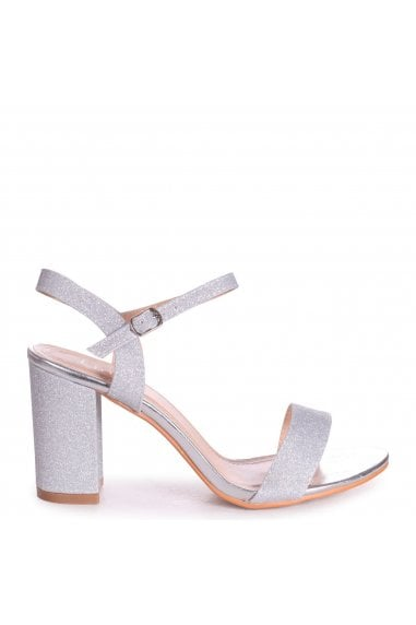 CHERUB - Silver Glitter Open Back Barely There Block Heeled Sandal