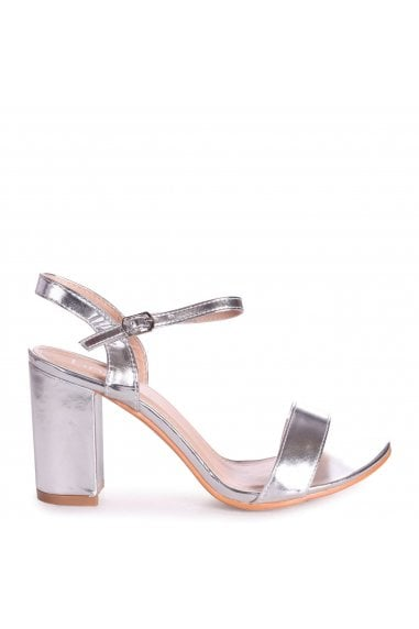 CHERUB - Silver Open Back Barely There Block Heeled Sandal