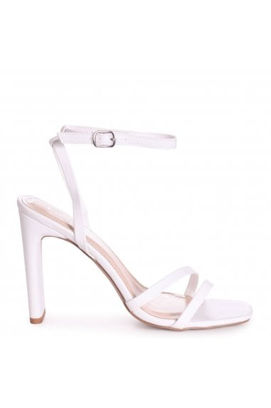 SWEETHEART - White Nappa Slim Heeled Sandal With Double Front Strap