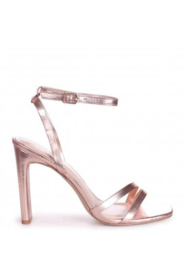 SWEETHEART - Rose Gold Metallic Slim Heeled Sandal With Double Front Strap
