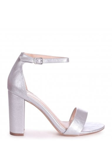 SELENA - Silver Nappa Barely There Block High Heel