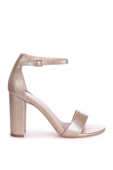 SELENA - Gold Nappa Barely There Block High Heel