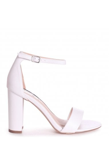 SELENA - White Nappa Barely There Block High Heel