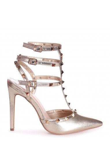 SO EXTRA - Gold Nappa Gladiator Style Studded Court Heel