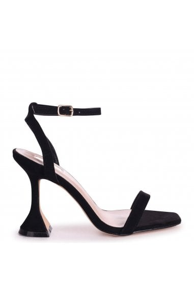 HERO - Black Suede Barely There With Flared Heel