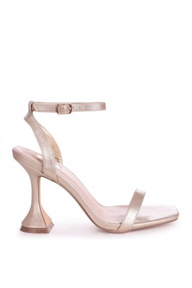 HERO - Gold Nappa Barely There With Flared Heel