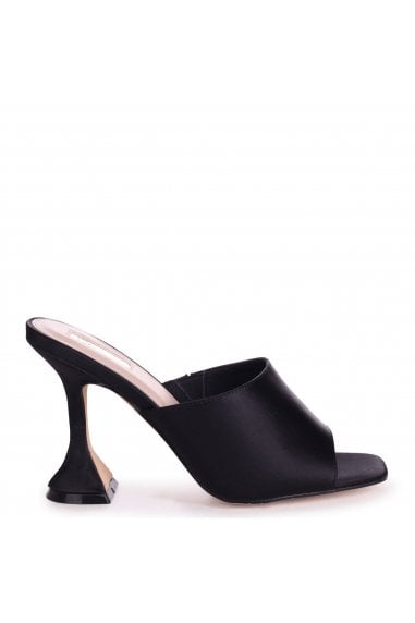 TAMED - Black Satin Flared Heel Mule