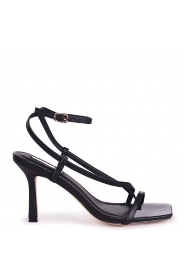 CARNABY - Black Nappa Strappy Square Toe Heel With Toe Post
