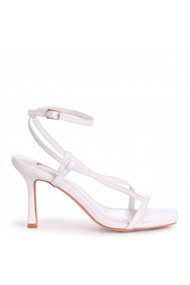 CARNABY - White Nappa Strappy Square Toe Heel With Toe Post