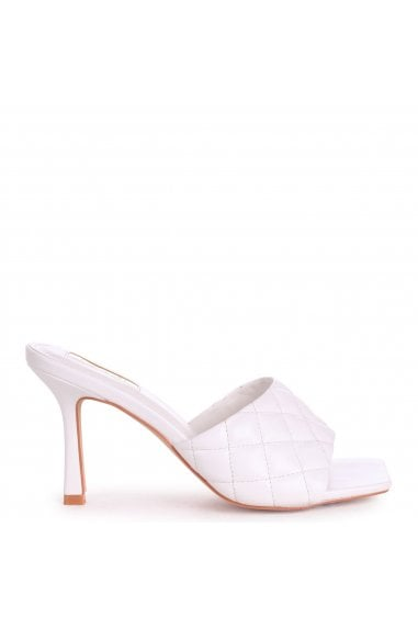 SICILY - White Nappa Square Toe Heel With Quilted Front Strap