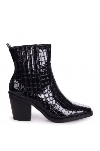 EVITA - Black Patent Croc Square Toe Cowboy Boot