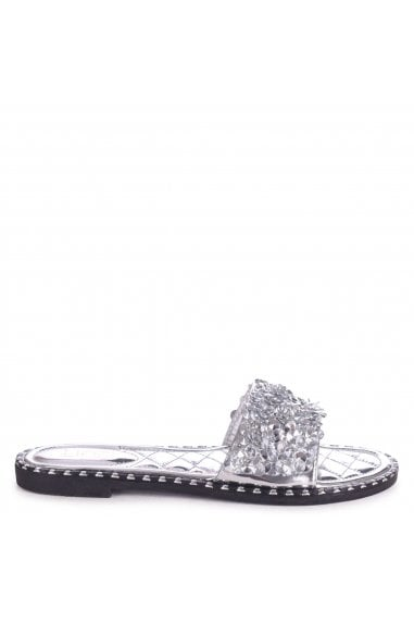 SPEARMINT - Silver Heavily Embellished Diamante Slip On Slider