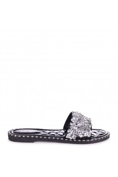 SPEARMINT - Black Heavily Embellished Diamante Slip On Slider