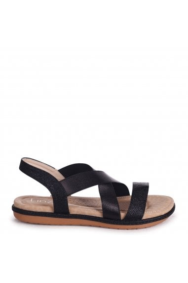 COSMO - Black Elasticated Sandal With Padded Footbed