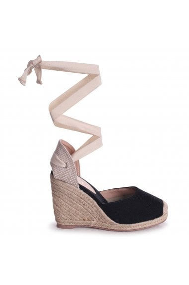 MEGHAN - Black Canvas Closed Toe Espadrille Wedge With Cream Tie Up Straps