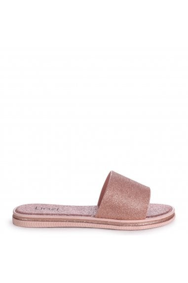 ARIANA - Rose Gold All Over Glitter Slip On Slider