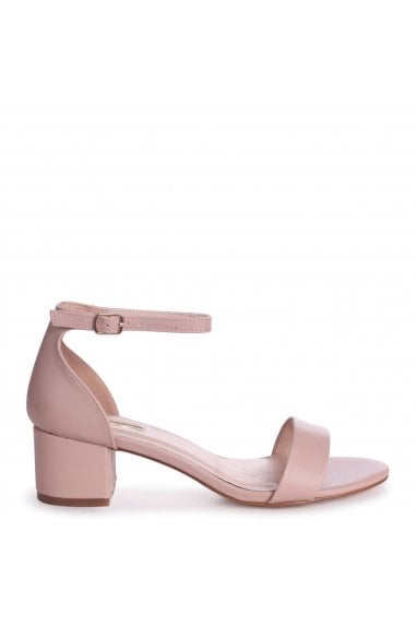 HOLLIE - Nude Nappa Barely There Block Heeled Sandal With Closed Back