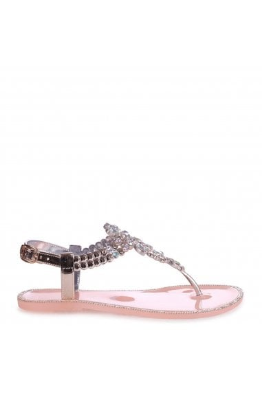 SMILE - Nude Jelly Heavily Embellished Toe Post Sandal