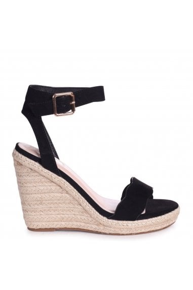MARS - Black Suede Rope Platform Wedge With Wavey Front Strap