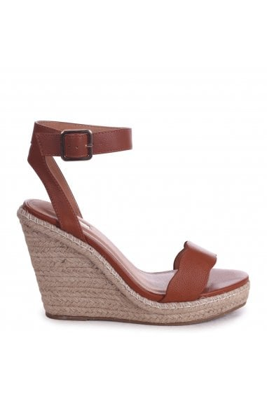 MARS - Tan Nappa Rope Platform Wedge With Wavey Front Strap