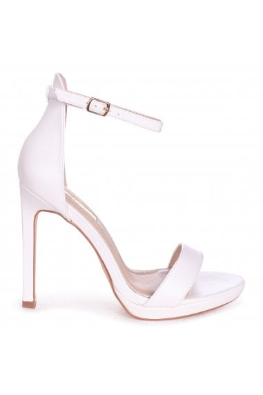 GABRIELLA - White Nappa Barely There Stiletto Heel With Slight Platform