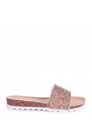 ELISA - Nude Slip On Slider With Heavy Diamante Embellishment & Cleated Sole