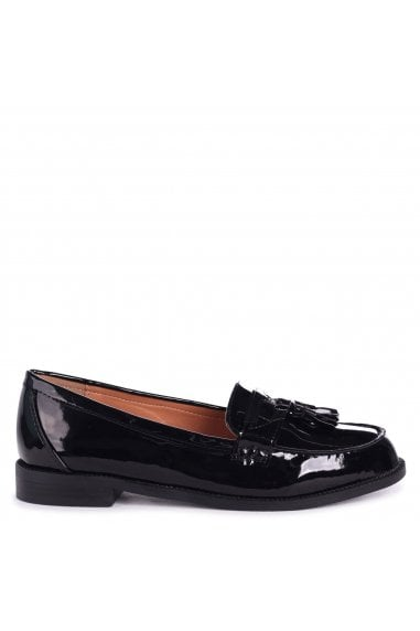 LAVERNE - Black Patent Classic Slip On Loafer With Tassel