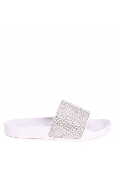 COCO - White Slip On Diamante Strap Sliders