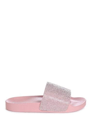 COCO - Pink Slip On Diamante Strap Sliders