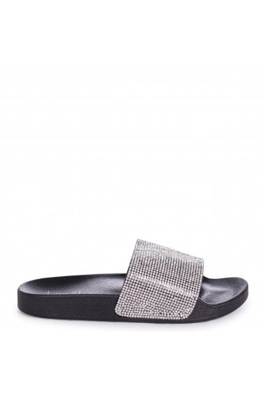 COCO - Black Slip On Diamante Strap Sliders