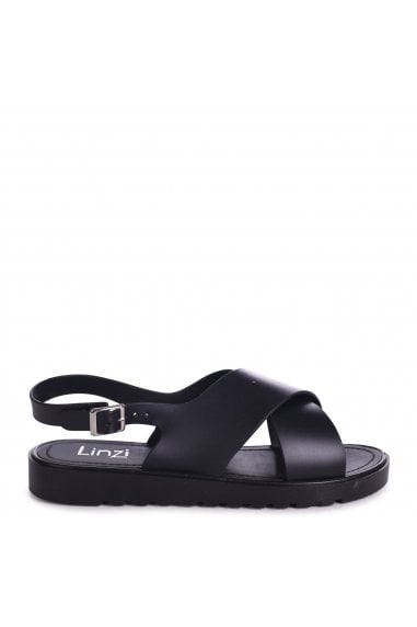 BESS - Black Cross Over Jelly Slingback Sandals