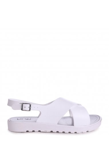 BESS - White Cross Over Jelly Sling Back Sandals
