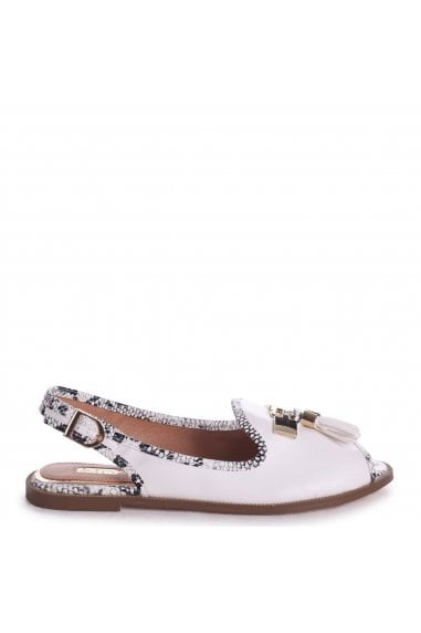 DAHLIA - White Nappa Sling Back Peep Toe Sandal With Snake Detail