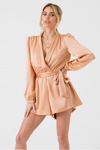 Satin Wrap Playsuit with Tie in Champagne