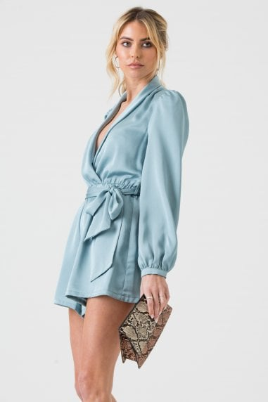 Satin Wrap Playsuit with Tie in Duck Egg Blue