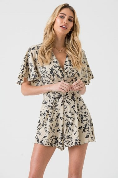 Cream and Black Floral Wrap Playsuit