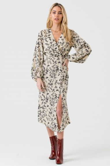 Cream and Black Floral Wrap Midi Dress with Side Split