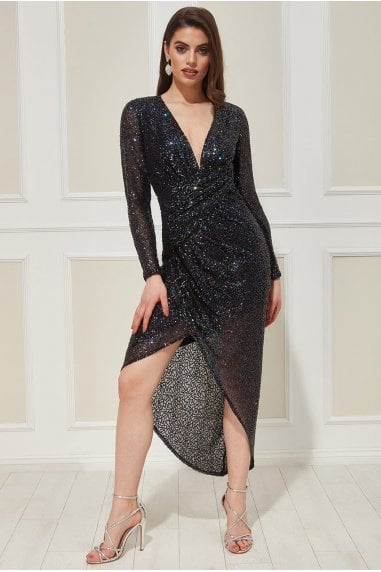 Goddiva Wrap Over Asymmetric Sequin Maxi Dress - Peacock