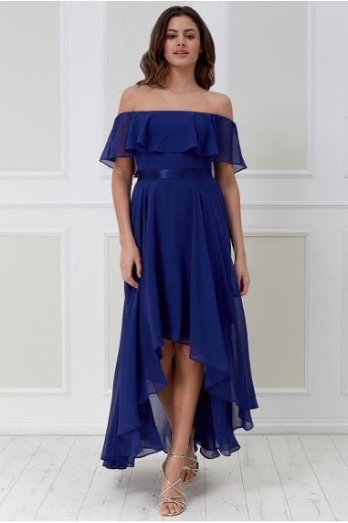 Goddiva Chiffon Bardot High Low Dress - Indigo