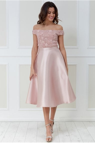 Goddiva 3D Flower Lace Off the Shoulder Midi Dress - Blush