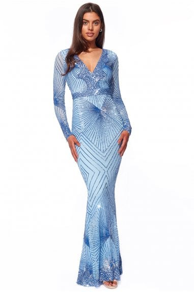 Goddiva Starburst Effect Maxi Dress - Cornflower