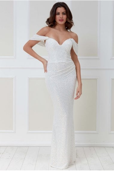 Goddiva Off the Shoulder Sequin Wing Maxi Dress - White