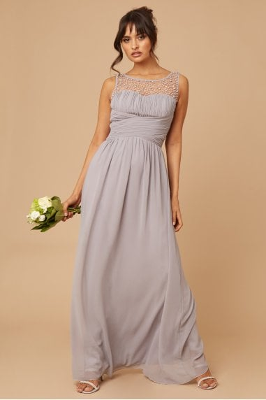 Bridesmaid Grace Grey Embellished Neck Maxi Dress