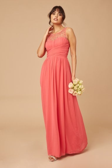 Grace Coral Embellished Neck Maxi Dress