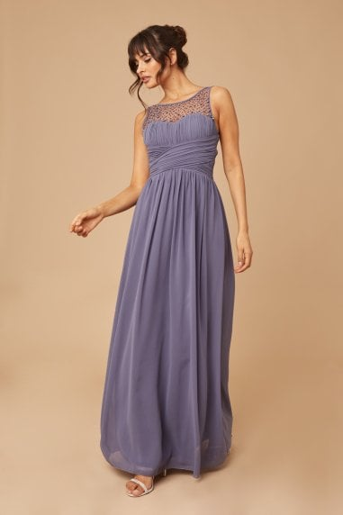 Grace Lavender Grey Embellished Neck Maxi Dress